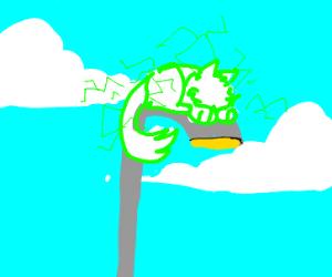 cat God on a high pole