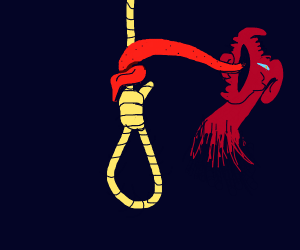 demon grips rope with his skinny tongue