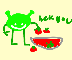 Green blob makes tomato juice