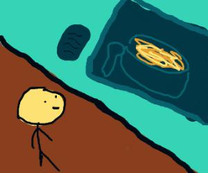 Man looks at painting of macaroni