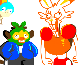 Grookey as Sans and Scorbunny as Papyrus
