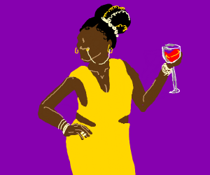 A fancy yellow dressed Lady with alcohol