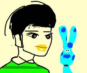 Joe (Blue's Clues) puts on yellow lipstick