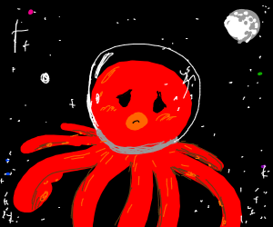 Sad octopus in space w/ cracked helmet