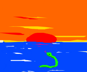 Snake in the water watching a sunset