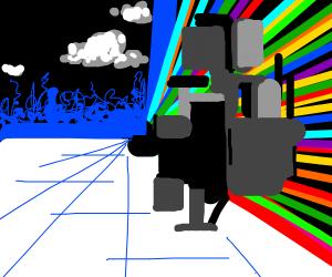 Glitch-like stuff overtakes dark landscape