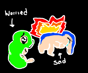 Caterpie is worried about Cyndaquil