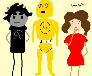 Troll, C3PO & Thoughtful Woman