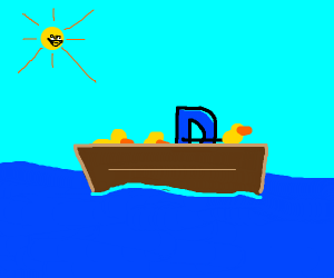 Drawception D is sailing a boat with ducks