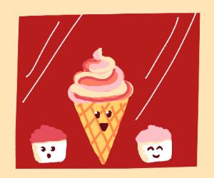 Frozen Yogurt characters smiling in mirror