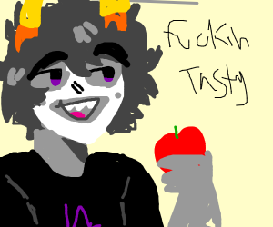gamzee eating an apple