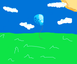 Blue ballon floats sadly into the sky