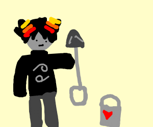 devil with a shovel and a bucket