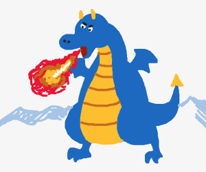 Blue bipedal dragon breathing fire