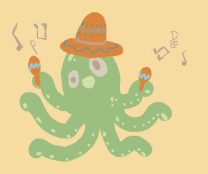 octopus with sombrero and a maraca