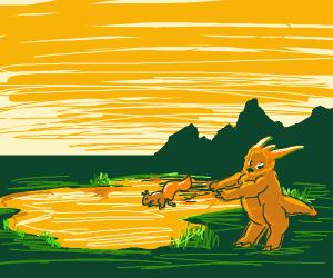 orange monster giving squirrel a bath