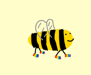 Bee with rainbow shoes