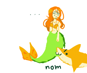 Shark attacks mermaid
