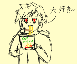anime guy eating ramen