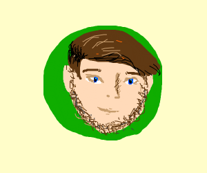 Man with beird with green circle beehind him