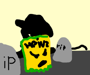 Angry mustard packet at cemetery