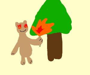 happy bear destroying the environment