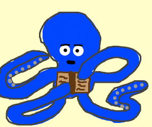 Octopus reads a book