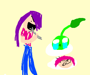 Purple Haired Marimoo eating Biju Mike Dude