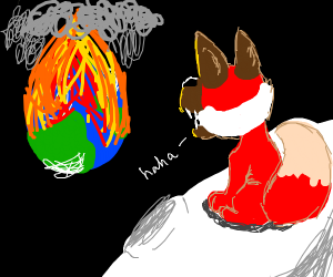 a red fox laughing while earth is burned