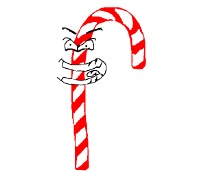 Evil candy cane laughing evilly