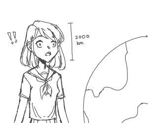 Giant anime girl surprised by earth
