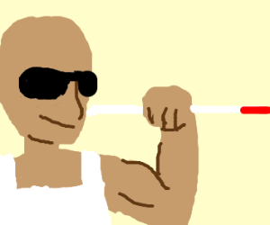 Blind man shows off his muscles