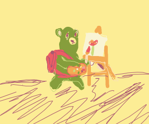 Green bear with a backpack paints a flower