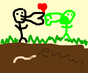 Black stick figure kisses green stick figure