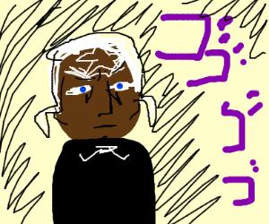 Black Jojo Character looks atcameramenacingly
