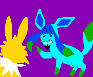 a Jolteon and a Glaceon but Glace=Will Smith