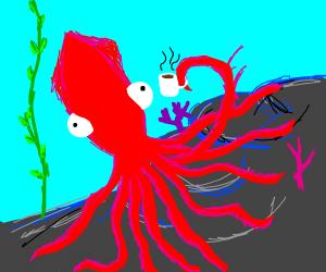 Red squid enjoying hot chocolate