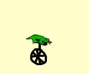 lizard on unicycle