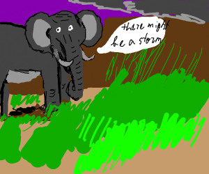"""Elephant saying """"ther might be a storm comin"""""""