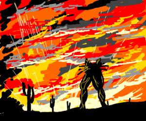 Buffleged cat in the desert by sunset