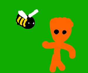 Bee angry at orange sourpatch
