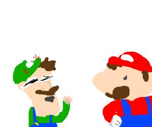 Mario is irritated at drunk Luigi
