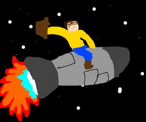 astronaut rides rocket like a cowboy on horse