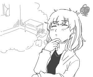 girl thinking about how to furnish grey room