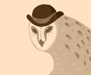 Monocrhomatic Owl in a bowler