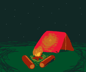 Tent next to a campfire with logs around it