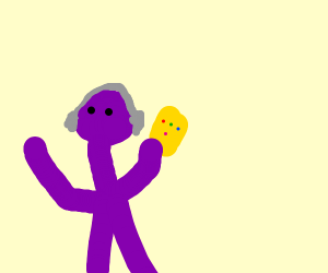 Thanos with gauntlet listening to music