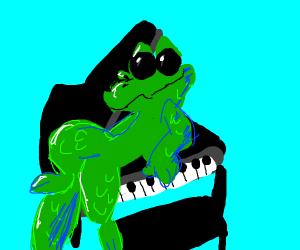 Crocodile on piano but he thinks he's cool