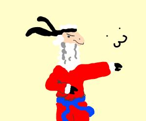Alpaca with a blue belt (karate)