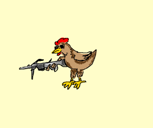 Gangster chicken holding a machine gun